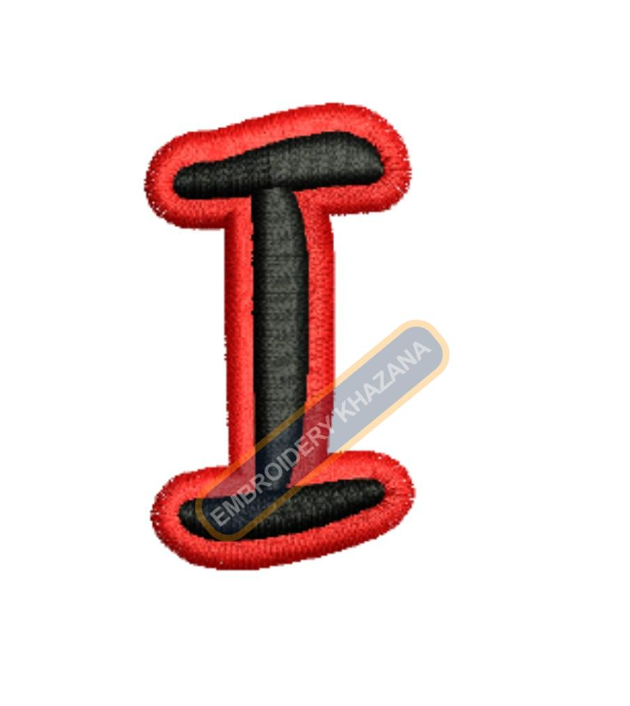 3D PUFF LETTER I WITH OUTLINE EMBROIDERY DESIGN