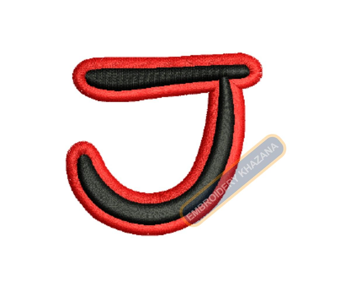 3D PUFF LETTER J WITH OUTLINE EMBROIDERY DESIGN