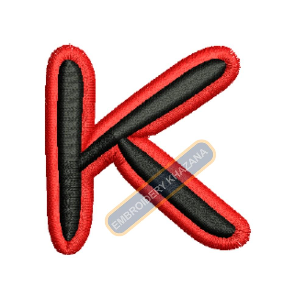 FOAM LETTER K WITH OUTLINE EMBROIDERY DESIGN