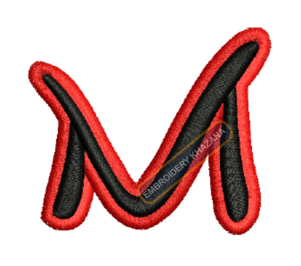 3D PUFF LETTER M WITH OUTLINE EMBROIDERY DESIGN