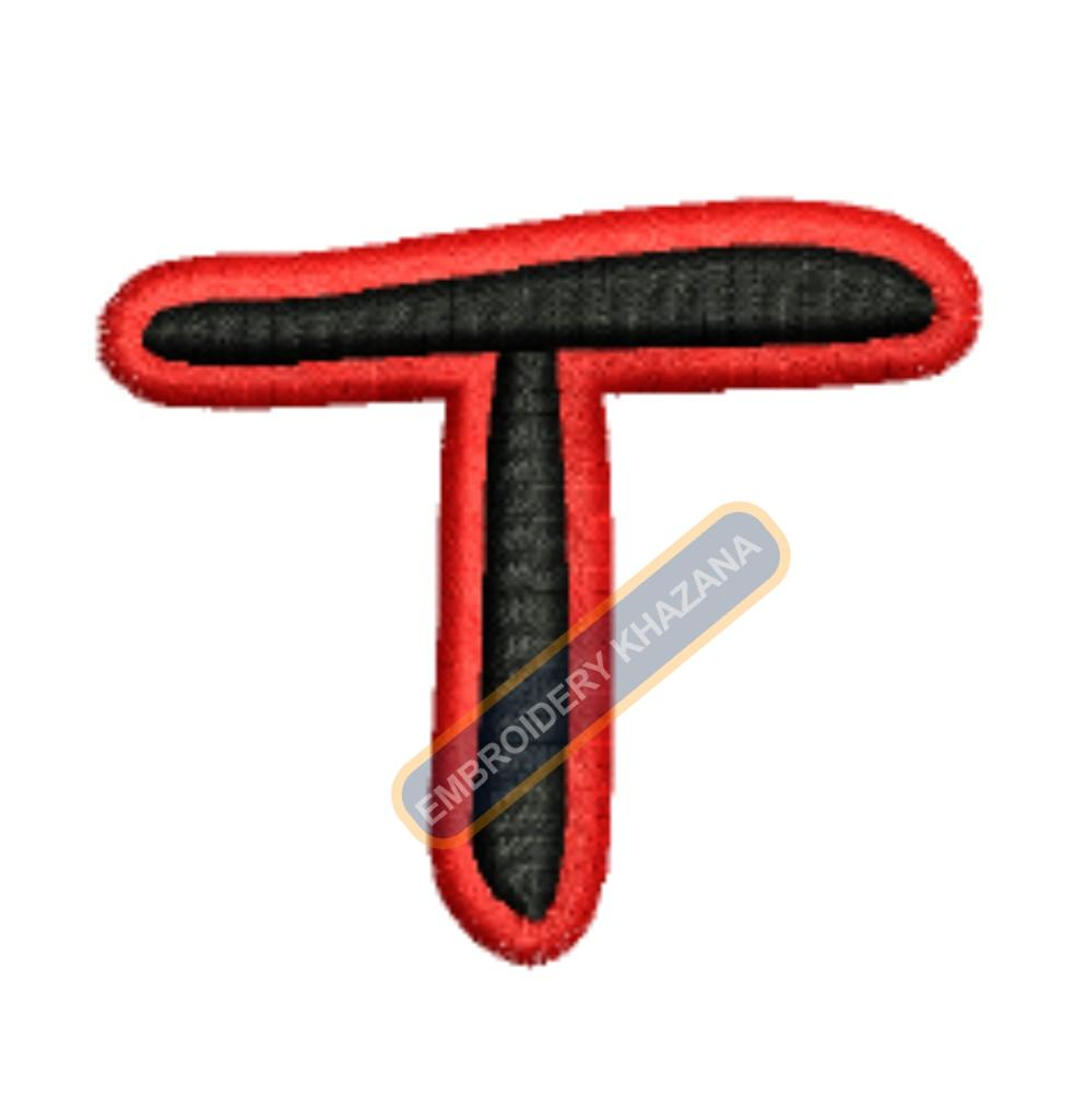 FOAM LETTER T WITH OUTLINE EMBROIDERY DESIGN