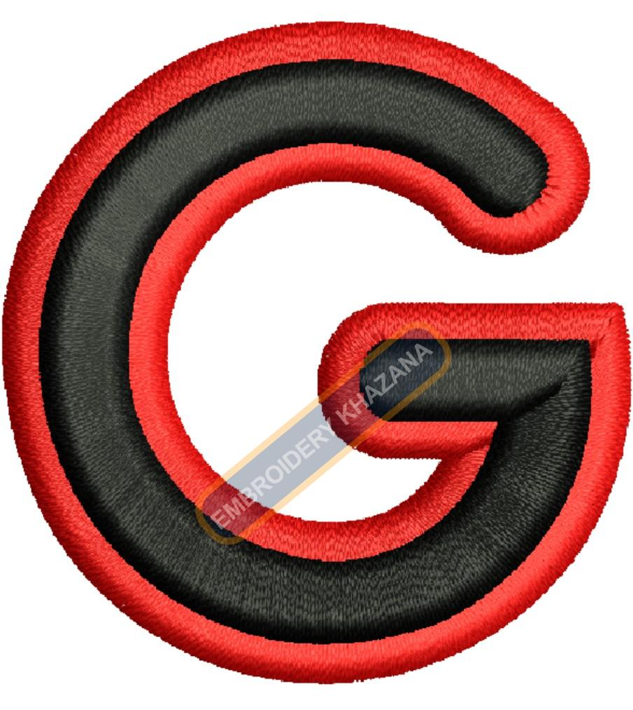 FOAM LETTER G WITH OUTLINE EMBROIDERY DESIGN