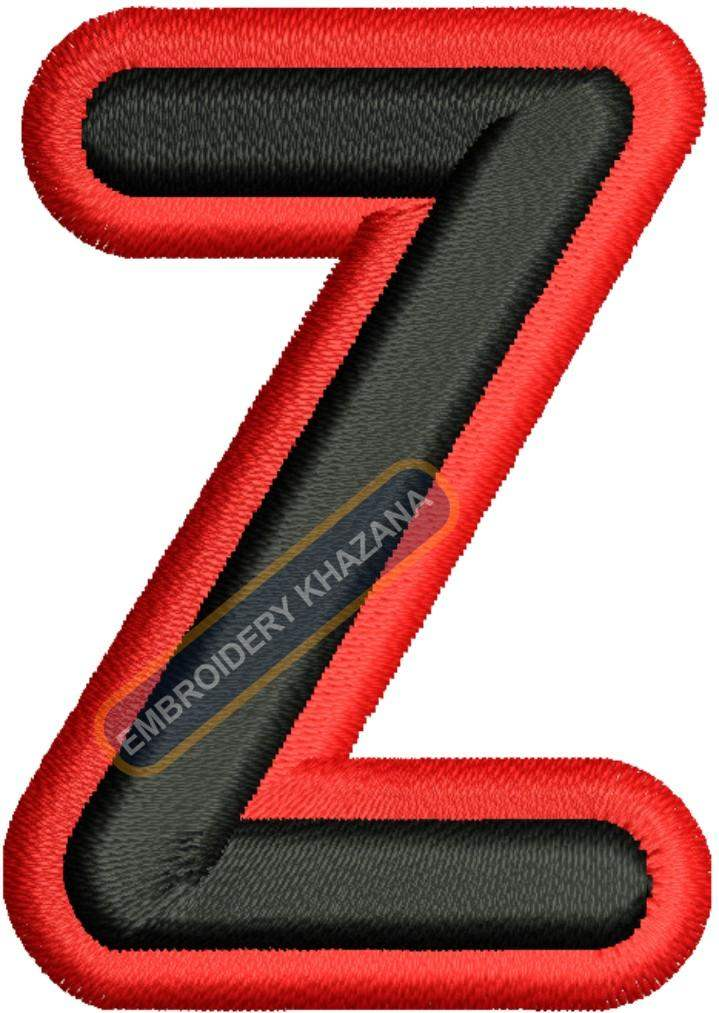 3D FOAM Z  WITH OUTLINE embroidery design