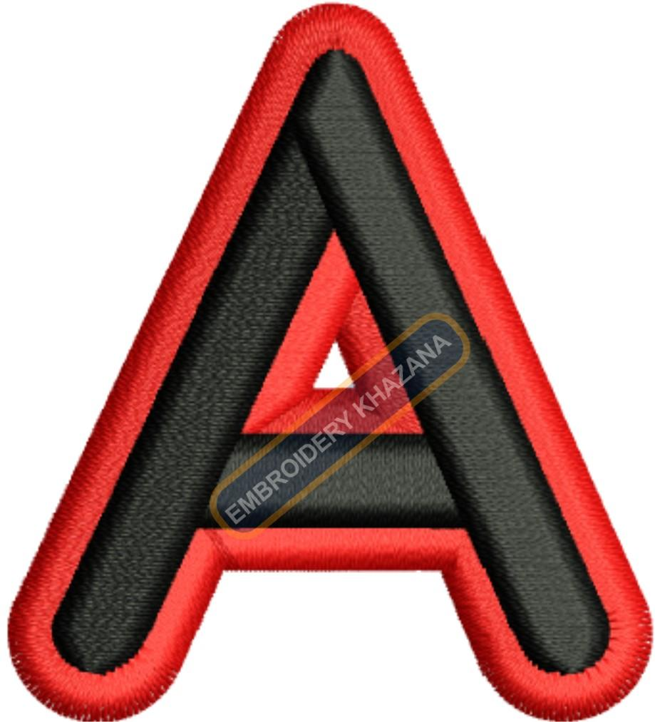 FOAM LETTER A WITH OUTLINE EMBROIDERY DESIGN