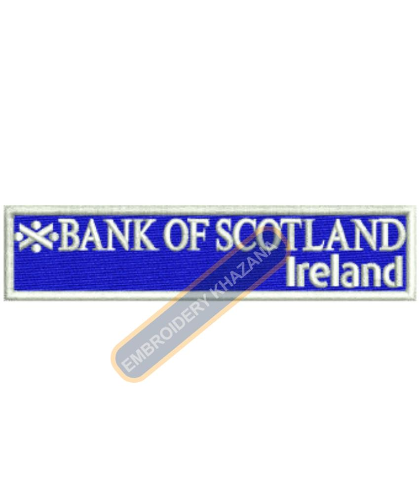 Bank of Scotland Ireland Bank embroidery design