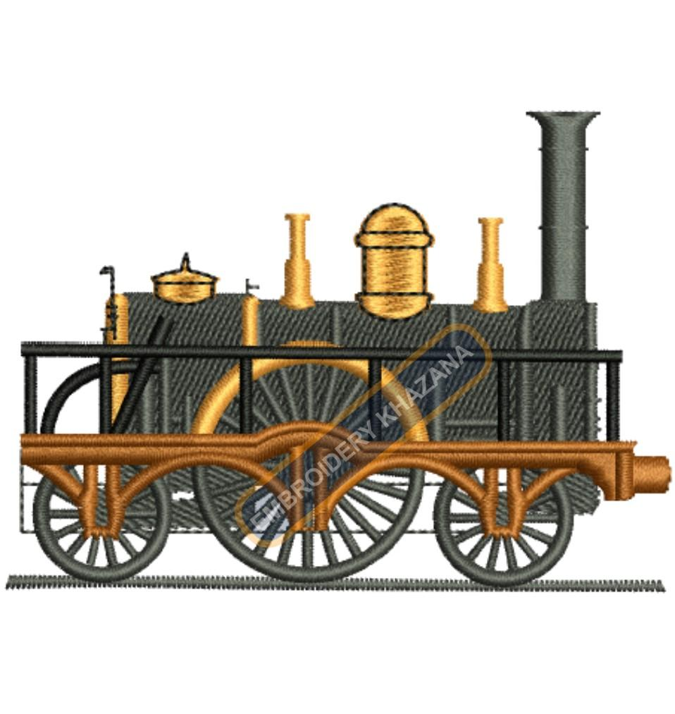 Vintage train engine embroidery design