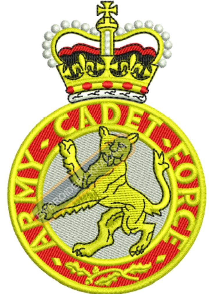 army cadet force crest embroidery design
