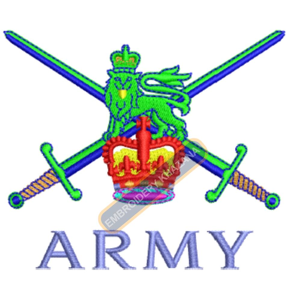 british army crest embroidery design