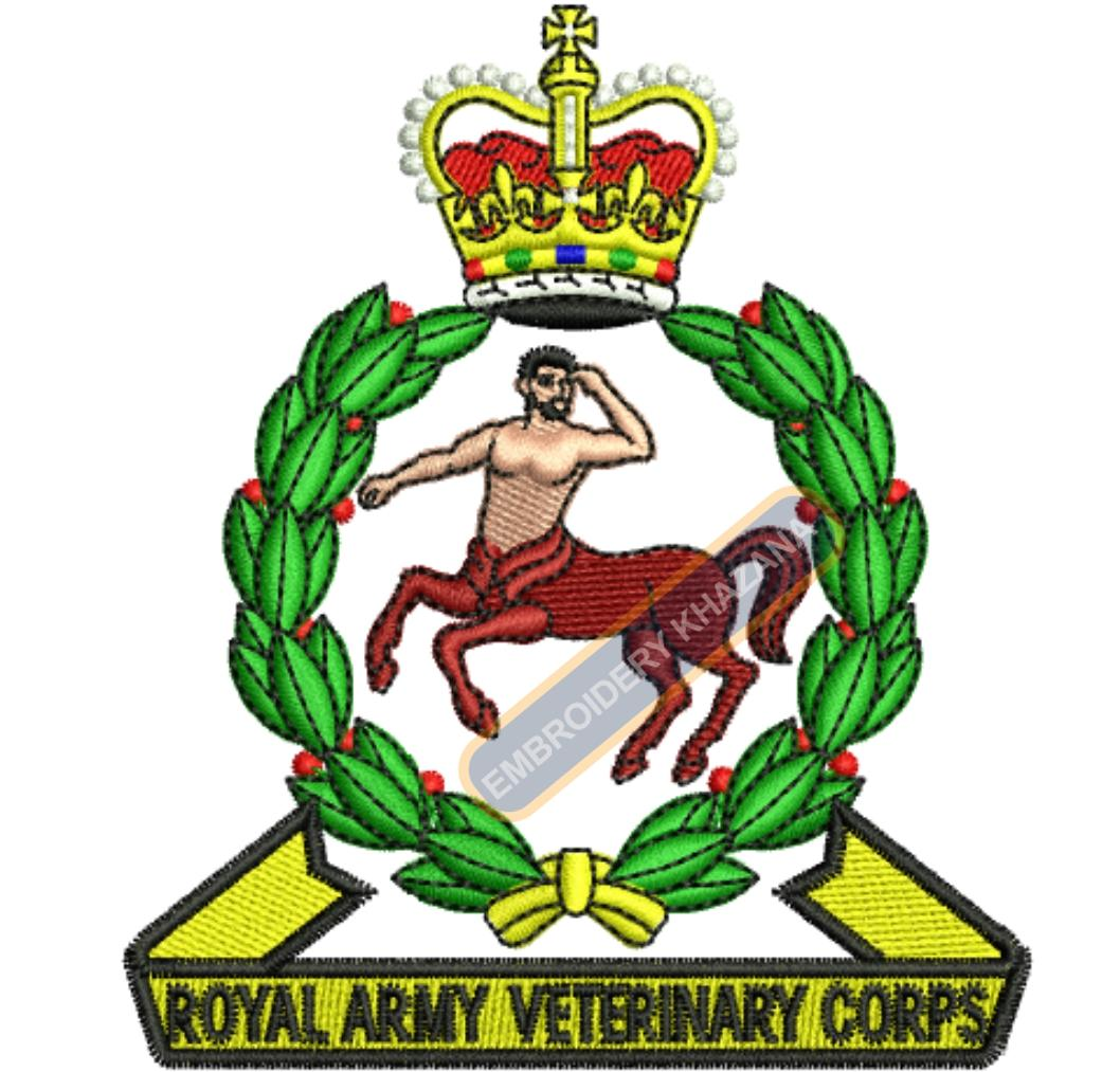 royal army veternary crops badge embroidery design
