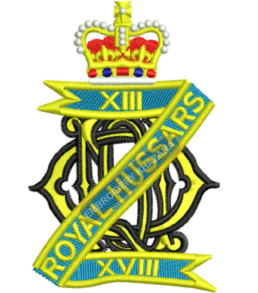 13th-18th Royal Hussars crest embroidery design