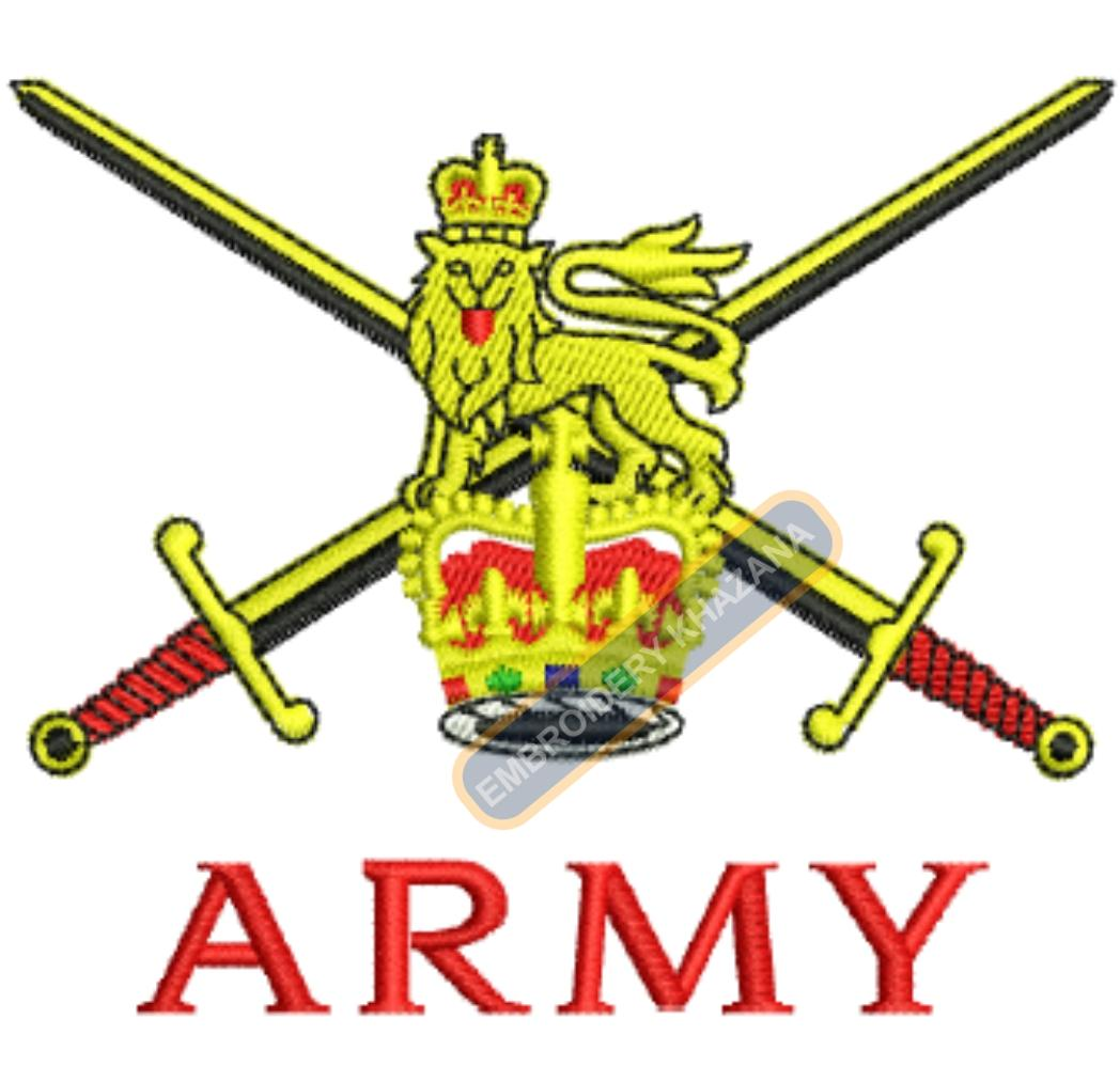 british army crest embroidery design