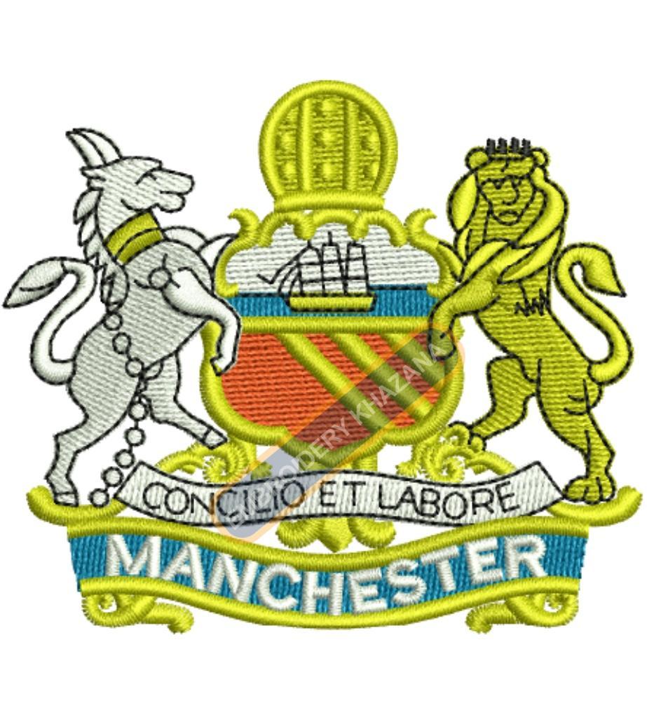 concilio et labore Manchester badge