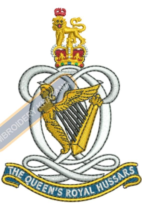 the queen royal hussars badge embroidery design
