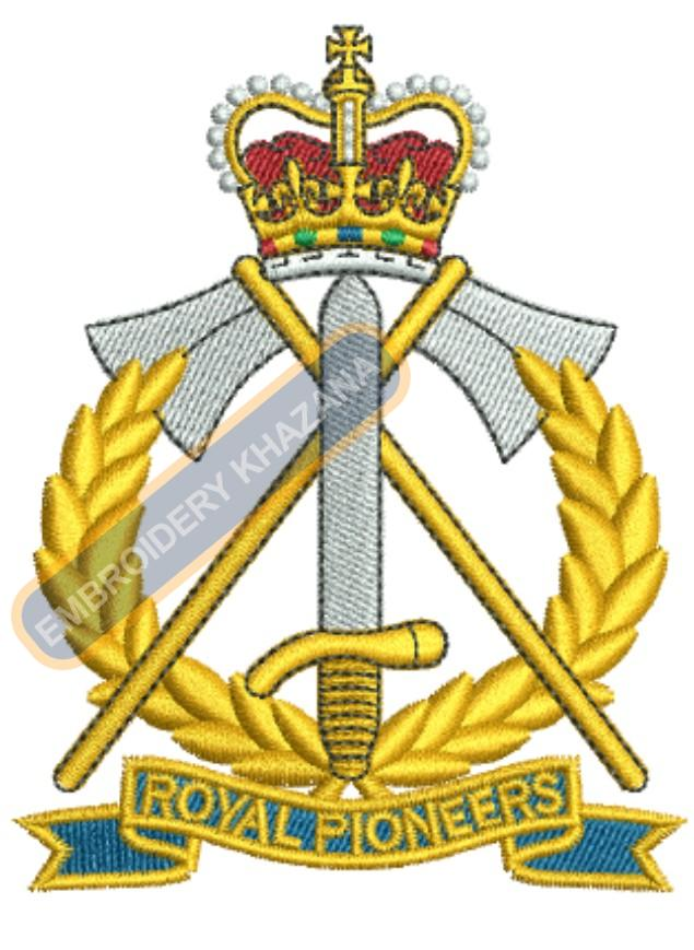 Royal Pioneer Corps badge embroidery design