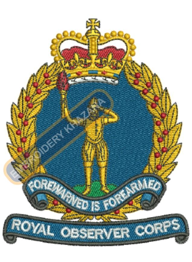 royal observer corps badge embroidery design