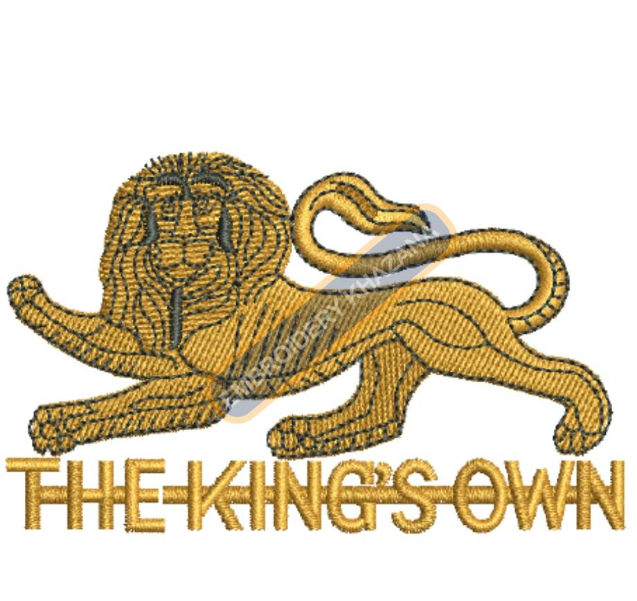 the kings own badge embroidery design