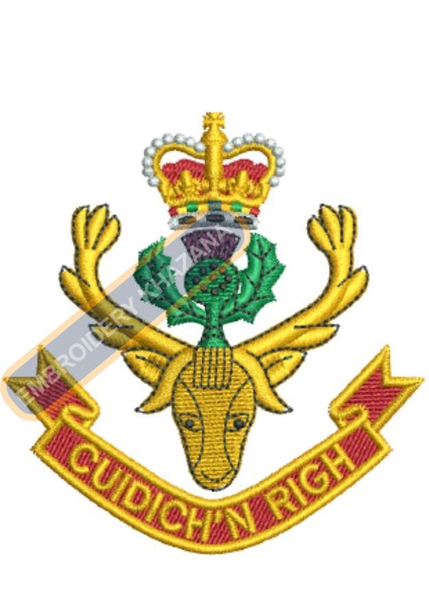 Highlanders crest embroidery design