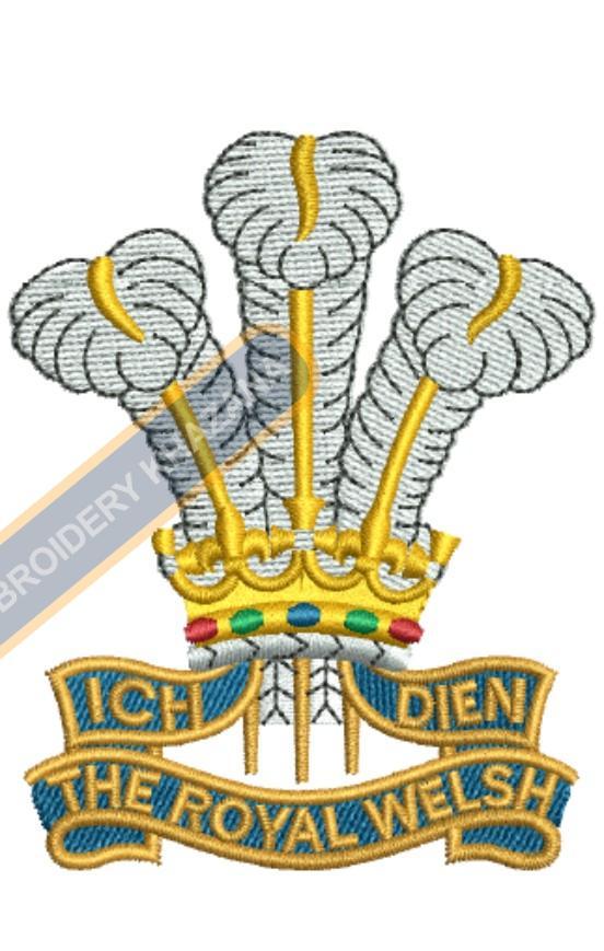 ich dien royal welsh embroidery design