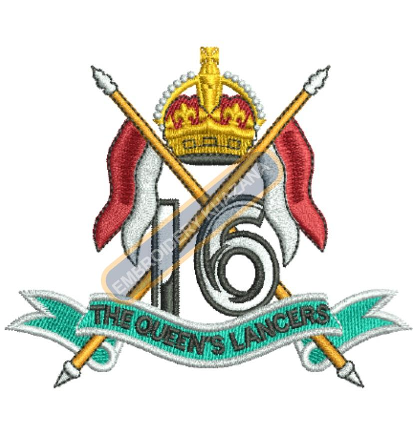 16th Lancers crest embroidery design