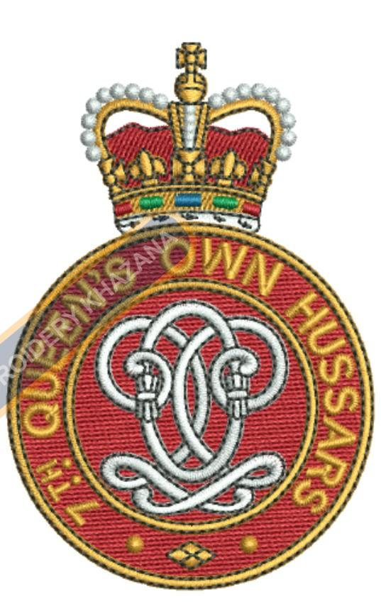 7th queen own hussars crest embroidery design