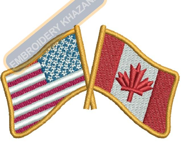 US CANADA FLAG embroidery design