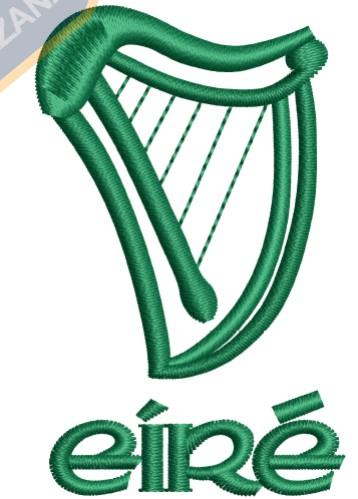 IRISH HARP EMBROIDERY DESIGN