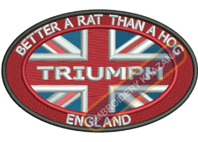 Triumph england flag embroidery design