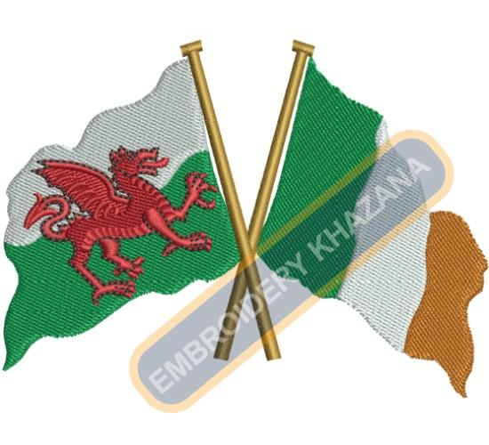 welsh irish flag embroidery design