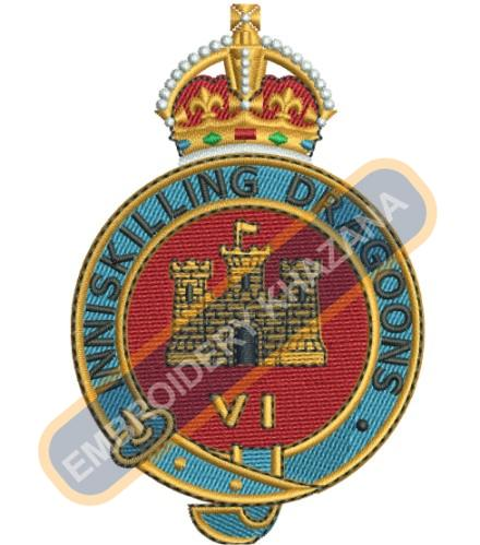 Royal Inniskilling Fusiliers crest embroidery design