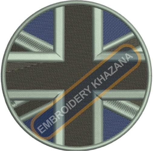 union jack flag circle embroidery design