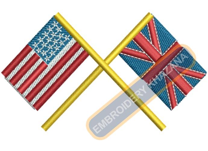 Britain American Flags Embroidery design