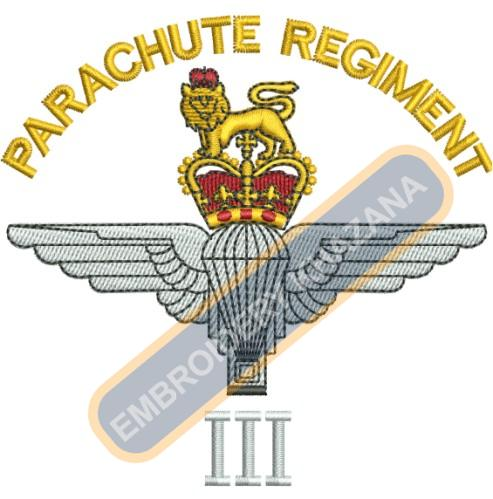 Parachute Regiment crest embroidery design
