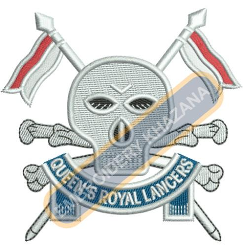 The Queen Royal Lancers crest embroidery design