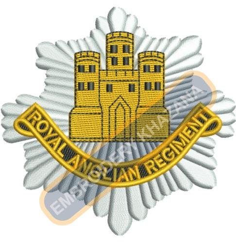 Royal Anglian Regiment crest embroidery design