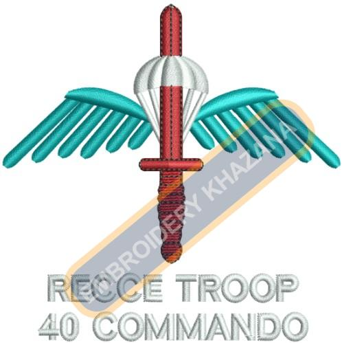 Recce Troop crest embroidery design