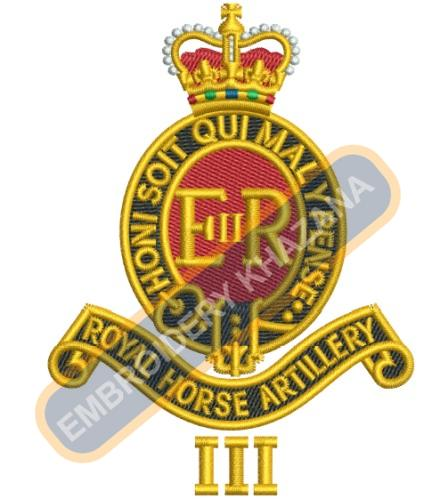 royal horse artillery crest embroidery design