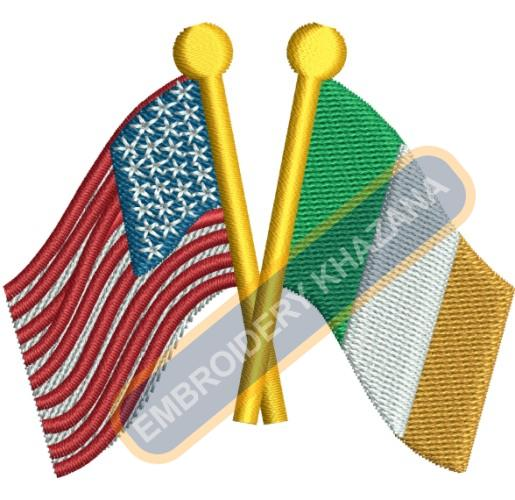 USA IRISH flags embroidery design