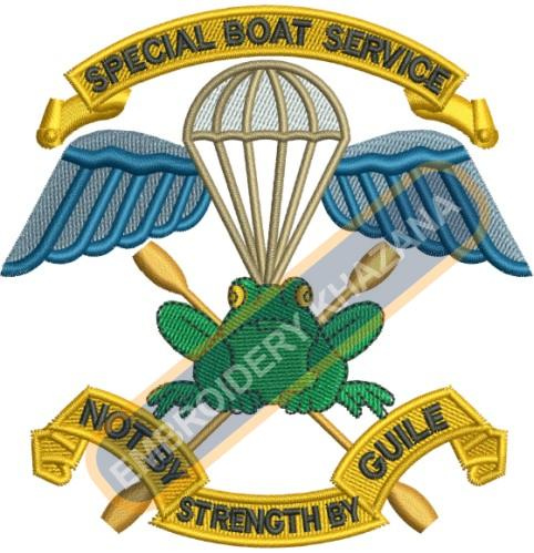 Special boat service crest embroidery design