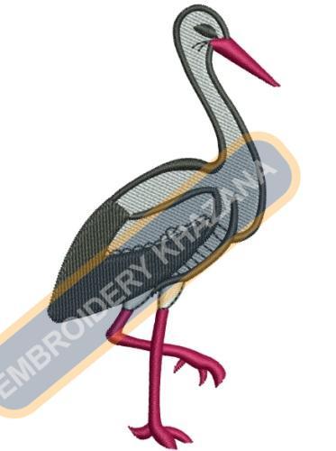 Stork embroidery design