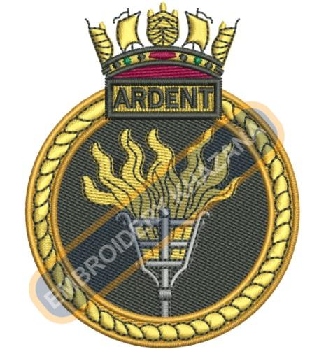 Ardent crest embroidery design