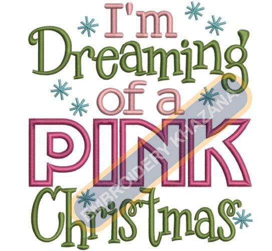 Pink Christmas Embroidery Designs