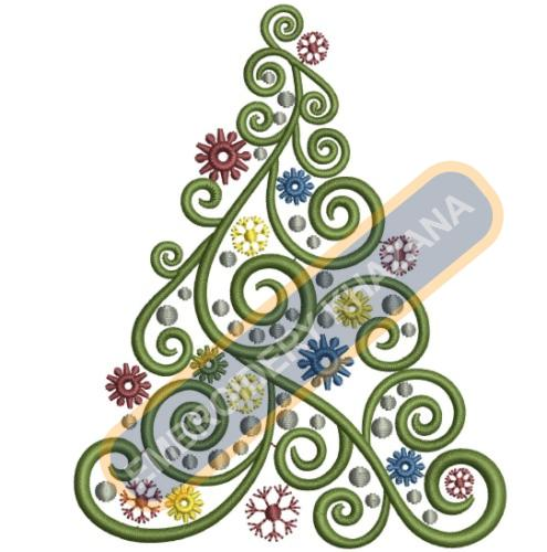 Curly Christmas Tree Embroidery Designs
