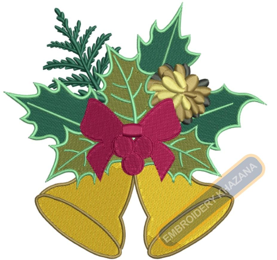 Christmas Bell With Leaves Embroidery Designs