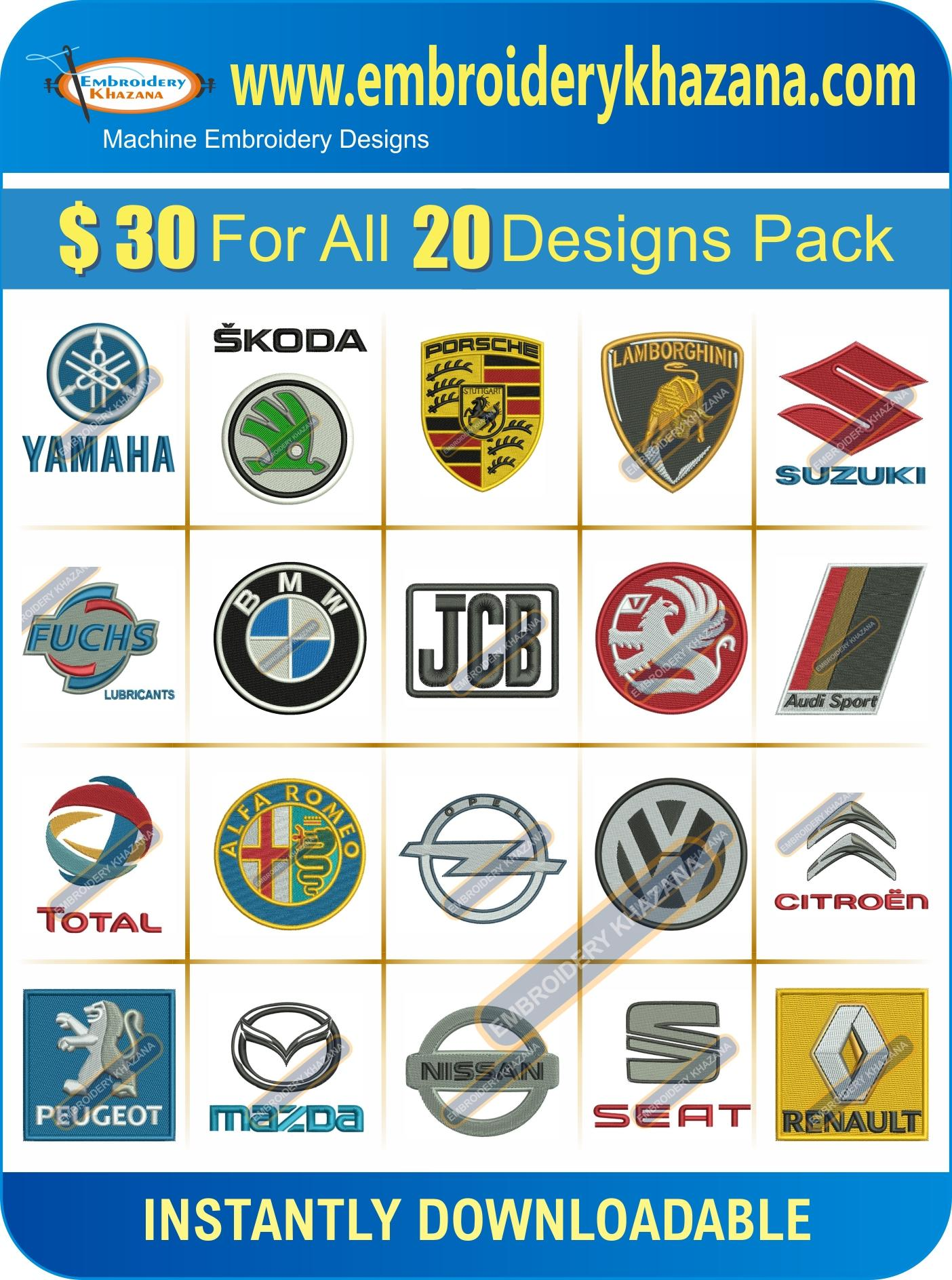 Car Company pack Logos Embroidery Design Set 1