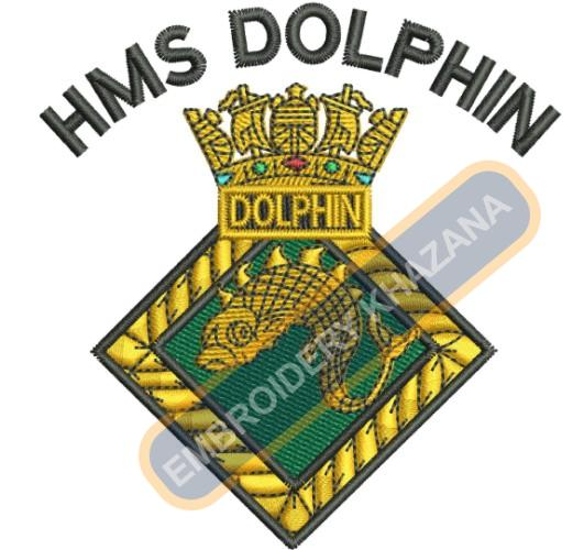 Hms Dolphin crest embroidery design
