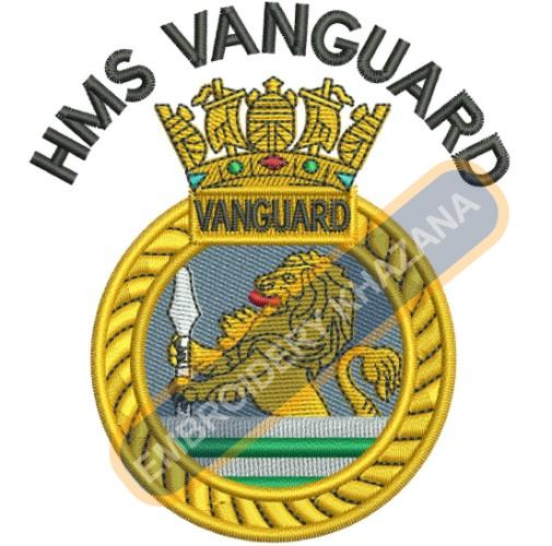 Hms Vanguard military crest embroidery design