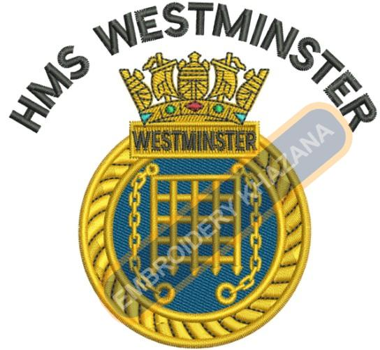 Hms Westminster military crest embroidery design