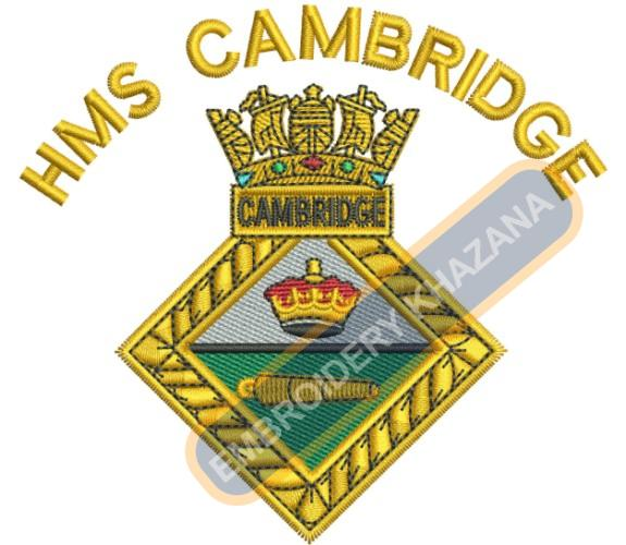 Hms Cambridge crest embroidery design