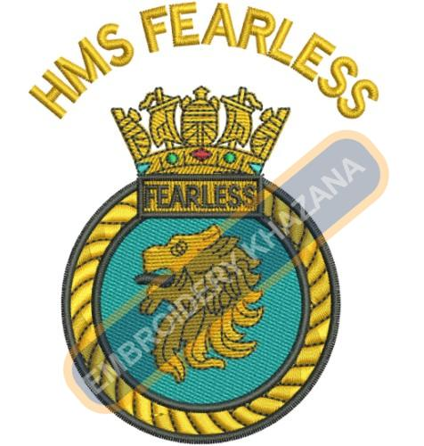 Hms Fearless crest embroidery design