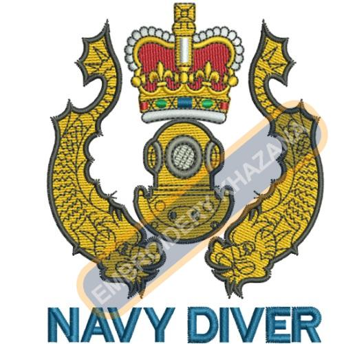 Royal Navy Divers Badge embroidery design